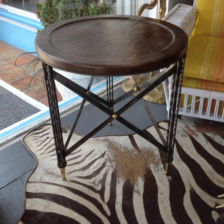 Brilliant design fashioned after the Classic Napoleonic tables. Appointed with purposeful distressed finished tops.