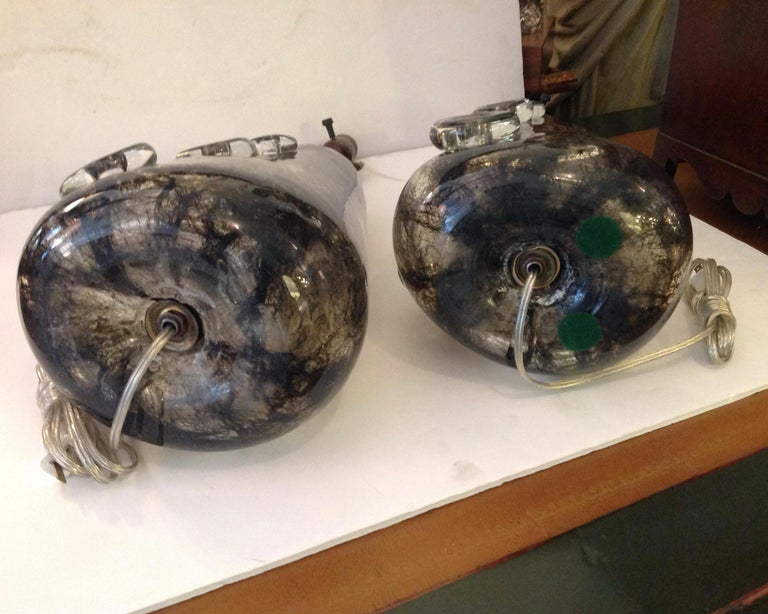 Rare Pair of Ercole Barovier Crepuscolo Glass Lamps For Sale 4