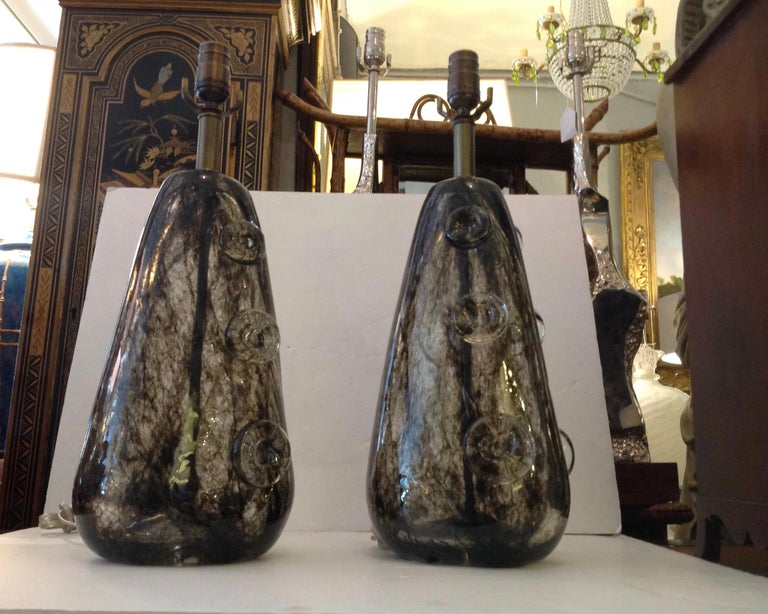 Rare Pair of Ercole Barovier Crepuscolo Glass Lamps In Good Condition For Sale In West Palm Beach, FL