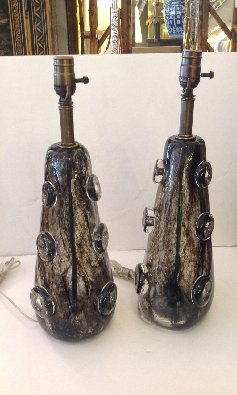 20th Century Rare Pair of Ercole Barovier Crepuscolo Glass Lamps For Sale
