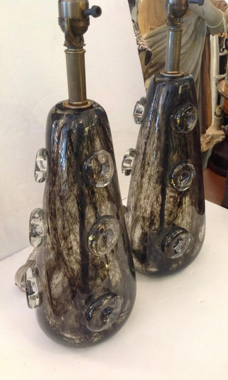 Art Glass Rare Pair of Ercole Barovier Crepuscolo Glass Lamps For Sale
