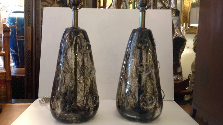 Mid-Century Modern Rare Pair of Ercole Barovier Crepuscolo Glass Lamps For Sale