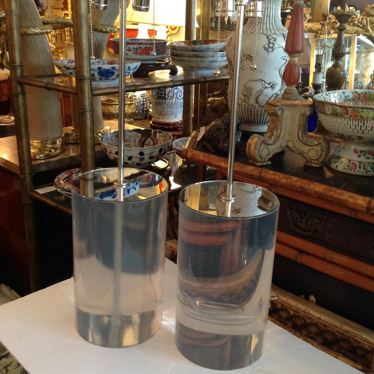 Pair of Karl Springer Style Lucite Table Lamps In Good Condition For Sale In West Palm Beach, FL