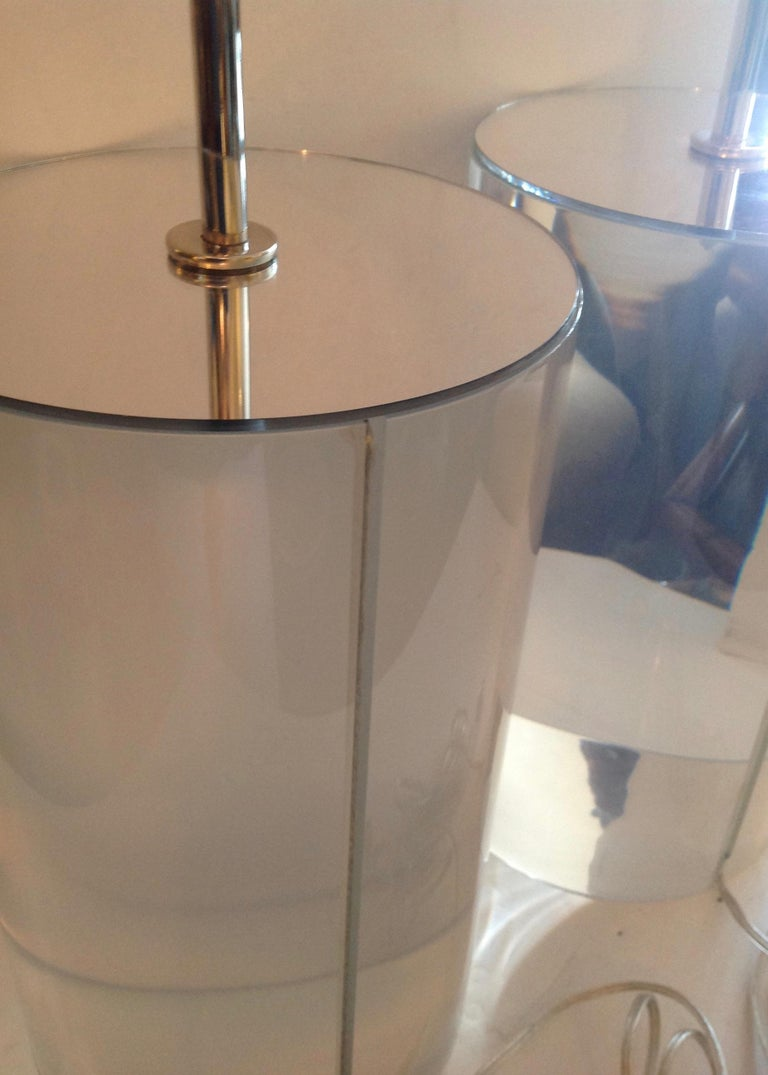 Pair of Karl Springer Style Lucite Table Lamps For Sale 1