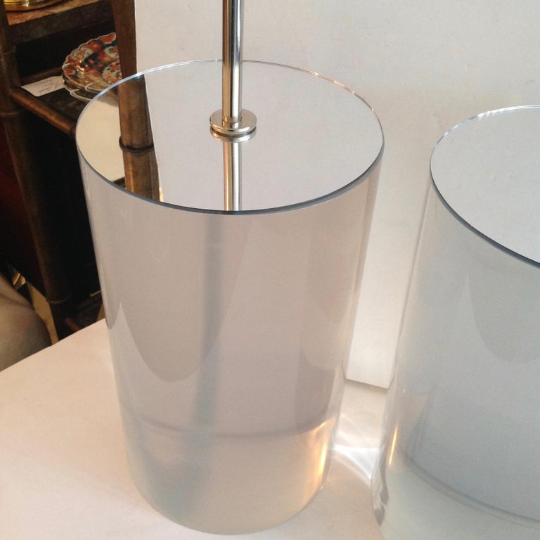 Pair of Karl Springer Style Lucite Table Lamps For Sale 2