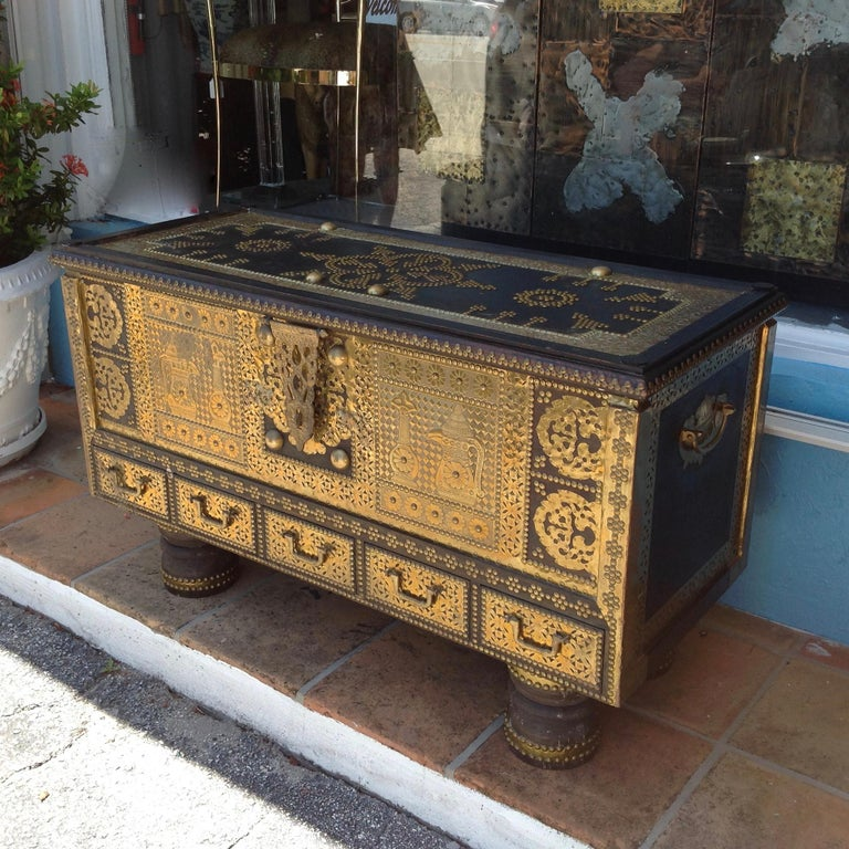 Moorish Exceptionally Elaborate Brass Appointed Moroccan Trunk For Sale