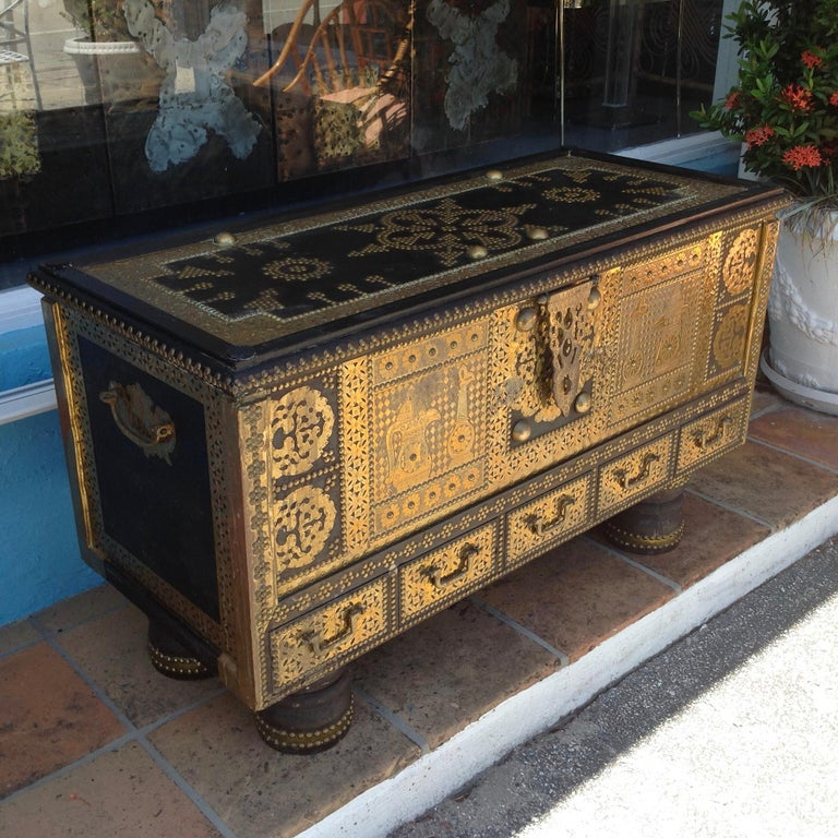Exceptionally Elaborate Brass Appointed Moroccan Trunk In Good Condition For Sale In West Palm Beach, FL