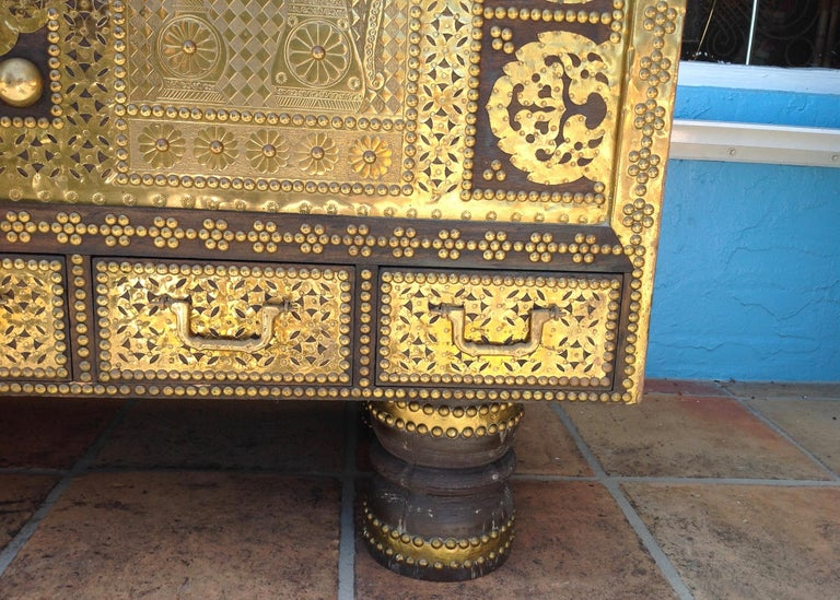 Exceptionally Elaborate Brass Appointed Moroccan Trunk For Sale 1
