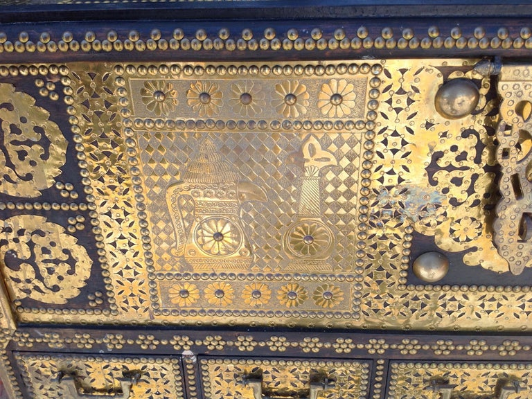 Exceptionally Elaborate Brass Appointed Moroccan Trunk For Sale 2