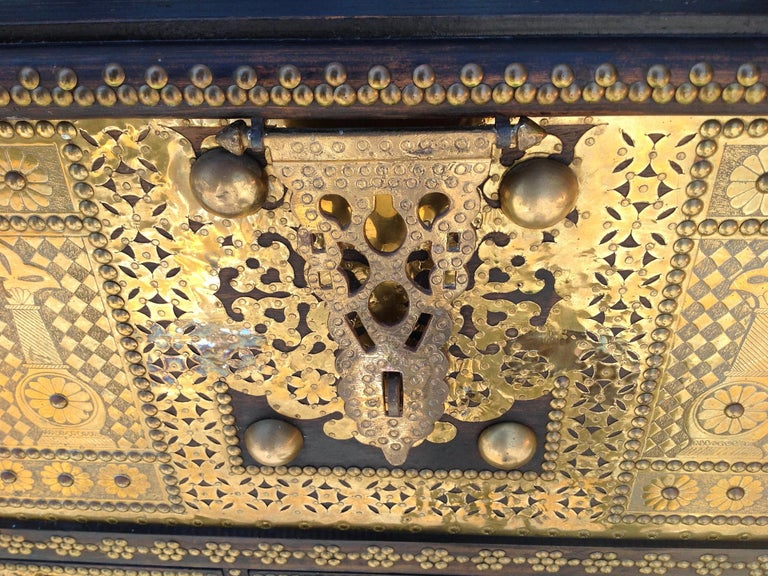 Exceptionally Elaborate Brass Appointed Moroccan Trunk For Sale 3