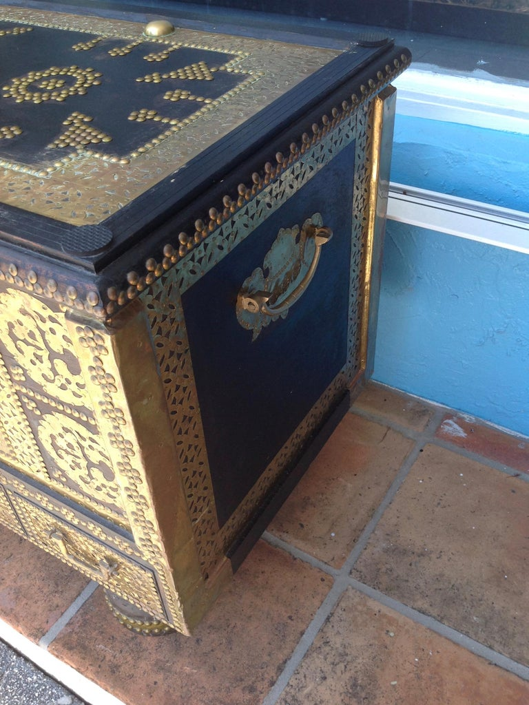 20th Century Exceptionally Elaborate Brass Appointed Moroccan Trunk For Sale