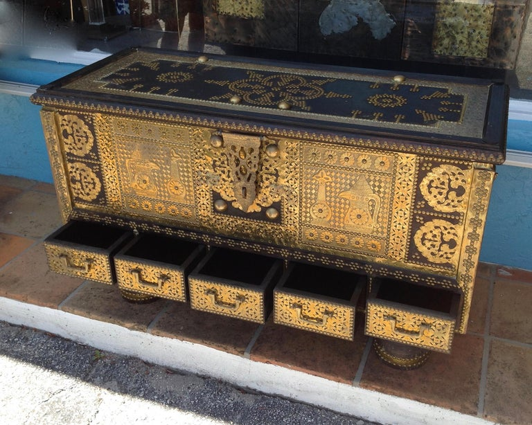 Exceptionally Elaborate Brass Appointed Moroccan Trunk For Sale 5