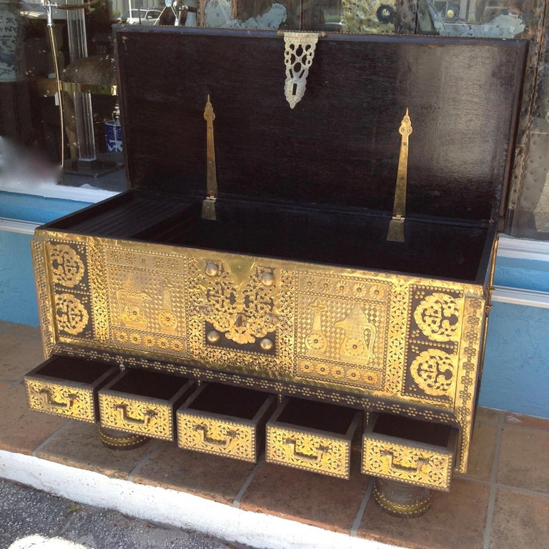 Exceptionally Elaborate Brass Appointed Moroccan Trunk For Sale 6