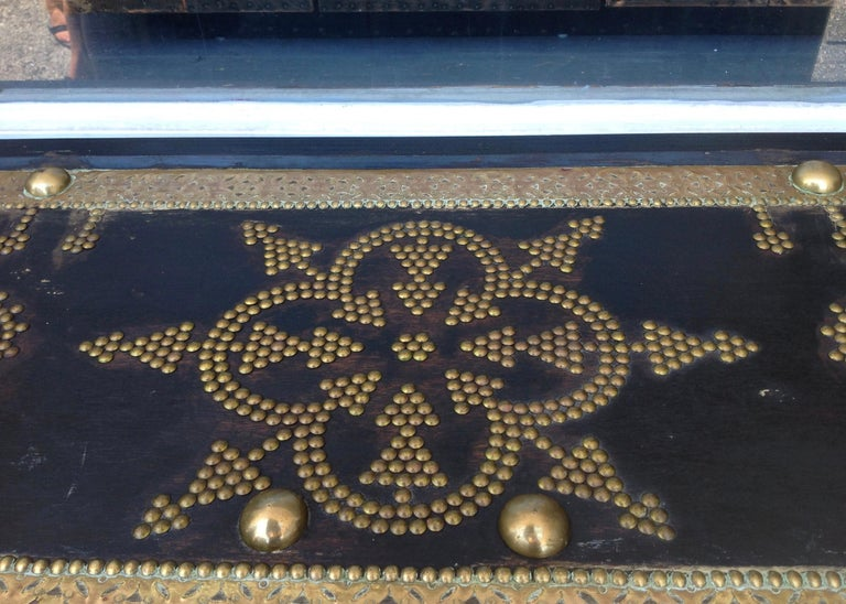 Exceptionally Elaborate Brass Appointed Moroccan Trunk For Sale 7