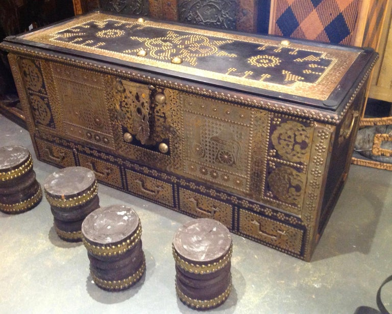 Exceptionally Elaborate Brass Appointed Moroccan Trunk For Sale 9