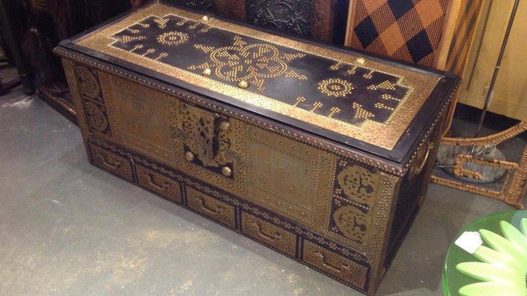 Exceptionally Elaborate Brass Appointed Moroccan Trunk For Sale 10