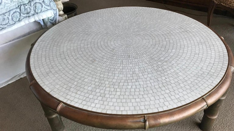 Mid-Century Modern Midcentury Faux Bamboo and Mosaic Cocktail Table For Sale