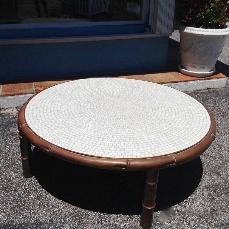 20th Century Midcentury Faux Bamboo and Mosaic Cocktail Table For Sale