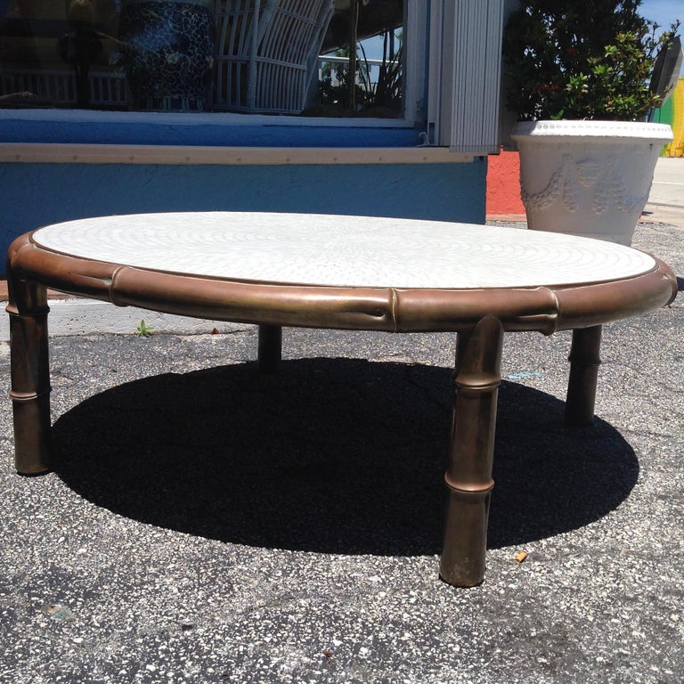 Brass Midcentury Faux Bamboo and Mosaic Cocktail Table For Sale
