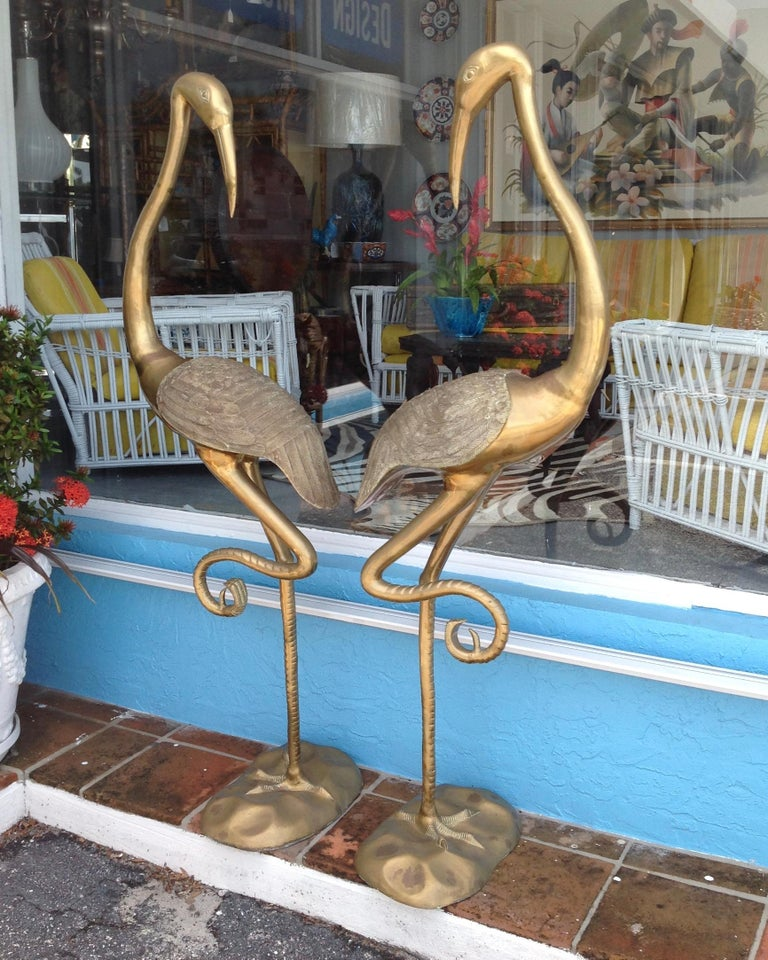 Mid-Century Modern Pair of Midcentury Brass Figures of Cranes For Sale