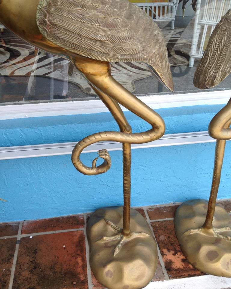 20th Century Pair of Midcentury Brass Figures of Cranes For Sale
