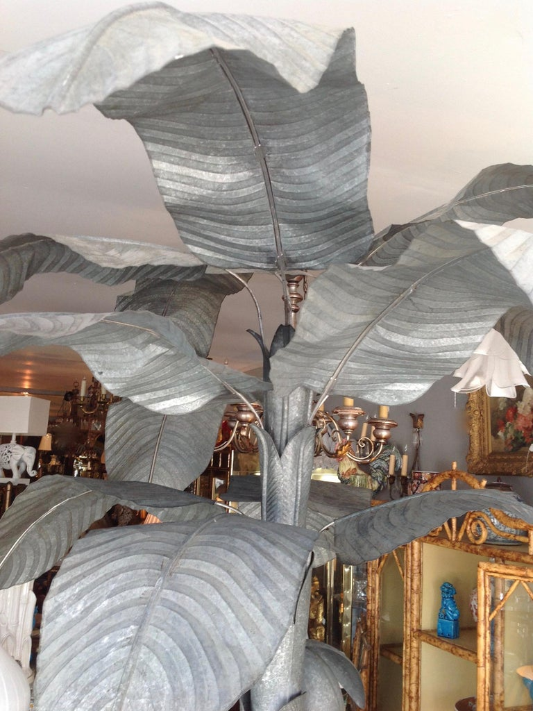 Magnificently Proportioned Tole Banana Tree For Sale 7