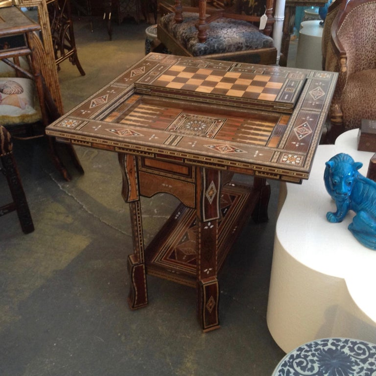 Wood Moroccan Folding Game Table For Sale
