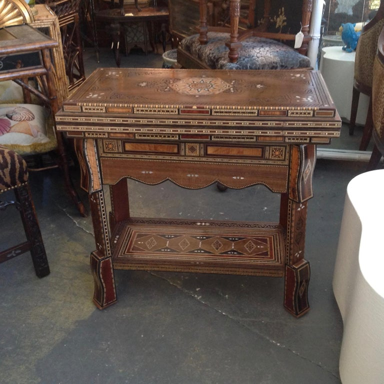 Moroccan Folding Game Table In Good Condition For Sale In West Palm Beach, FL