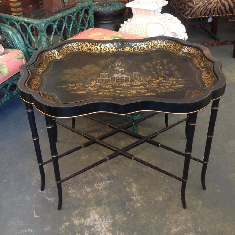 Regency 19th Century English Chinoiserie Abalone and Gilt Papier Mâché Tray on Stand For Sale