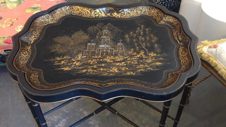 Lacquer 19th Century English Chinoiserie Abalone and Gilt Papier Mâché Tray on Stand For Sale