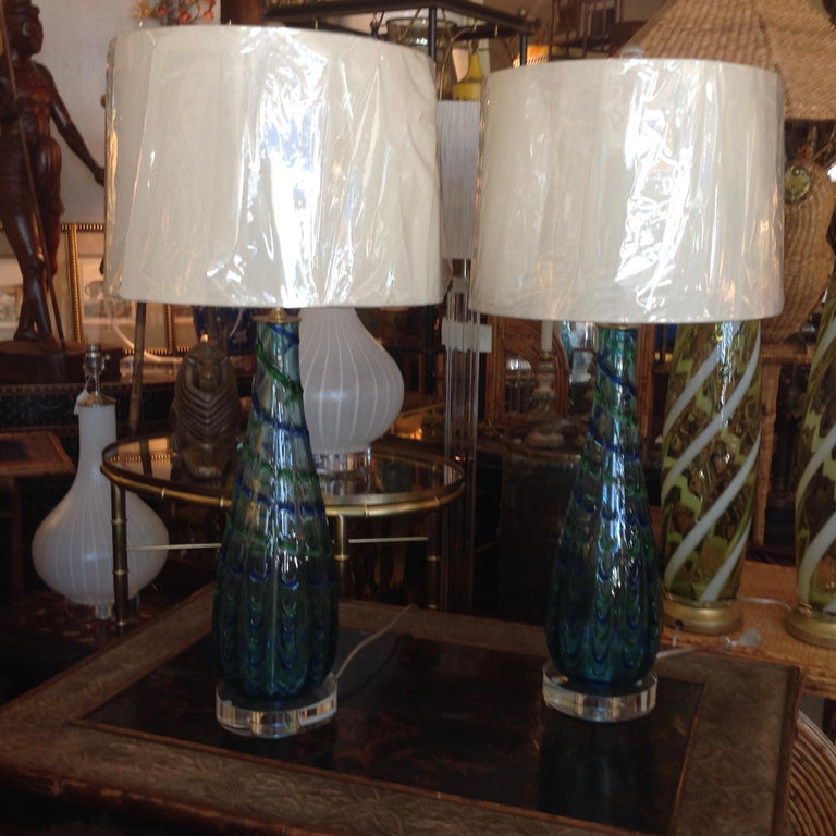 Mid-Century Modern Pair of Murano Lamps For Sale