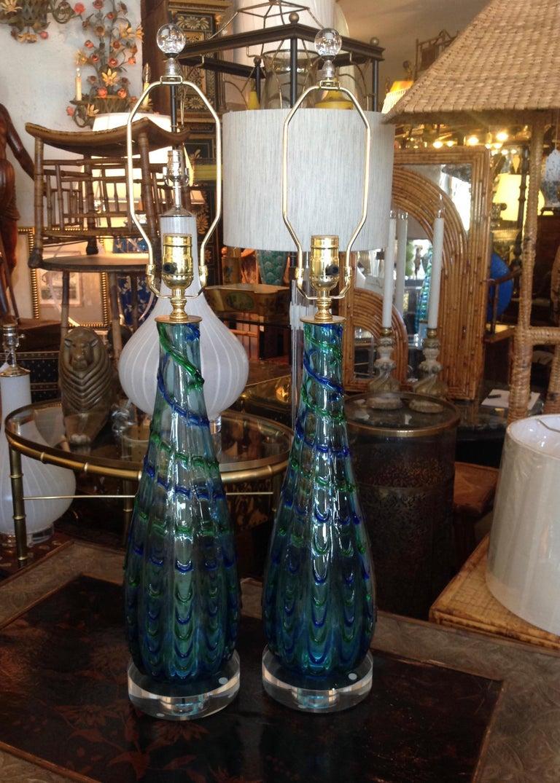 Italian Pair of Murano Lamps For Sale