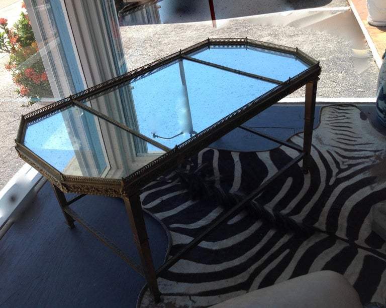 French Spectacular Four Feet Long Bronze Plateau Surtout Coffee Table For Sale