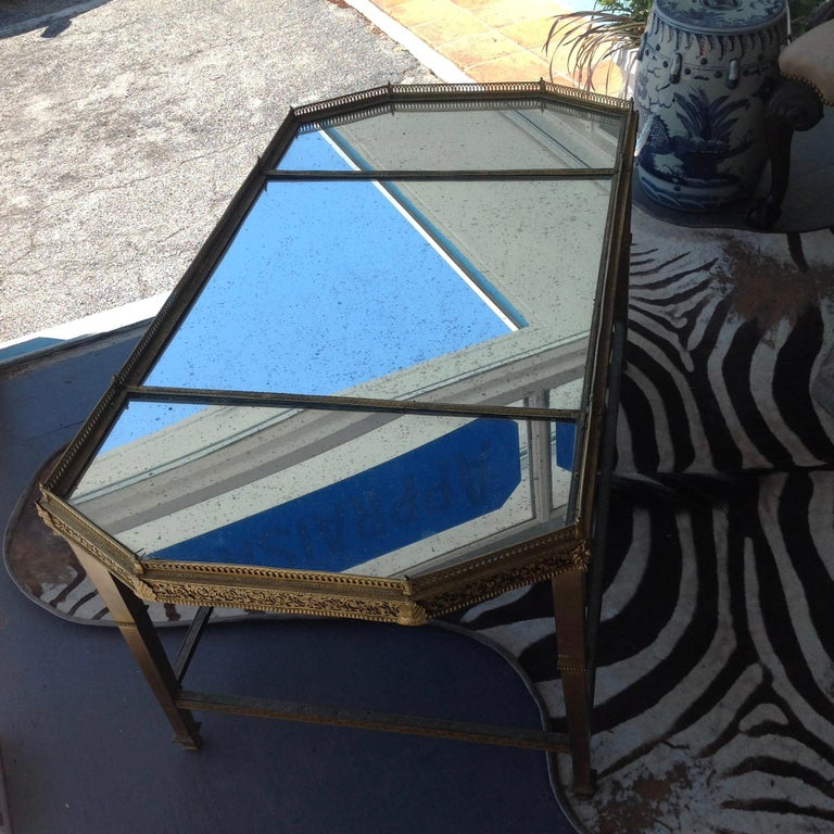 Spectacular Four Feet Long Bronze Plateau Surtout Coffee Table In Good Condition For Sale In West Palm Beach, FL