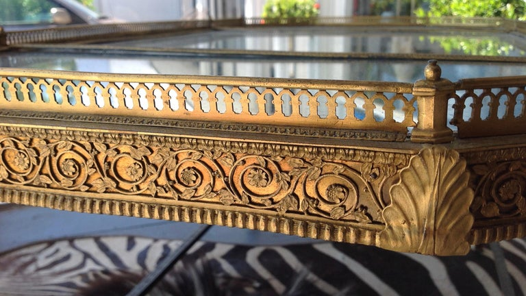 Spectacular Four Feet Long Bronze Plateau Surtout Coffee Table For Sale 6