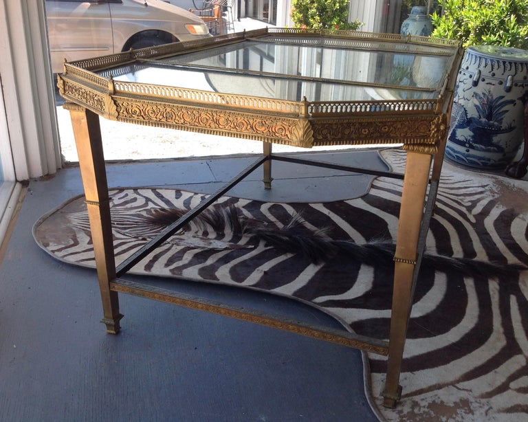Spectacular Four Feet Long Bronze Plateau Surtout Coffee Table For Sale 8