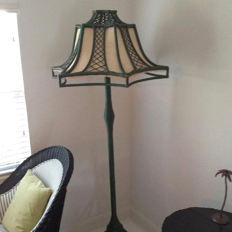 20th Century Brighton Inspired Wicker Floor Lamp For Sale