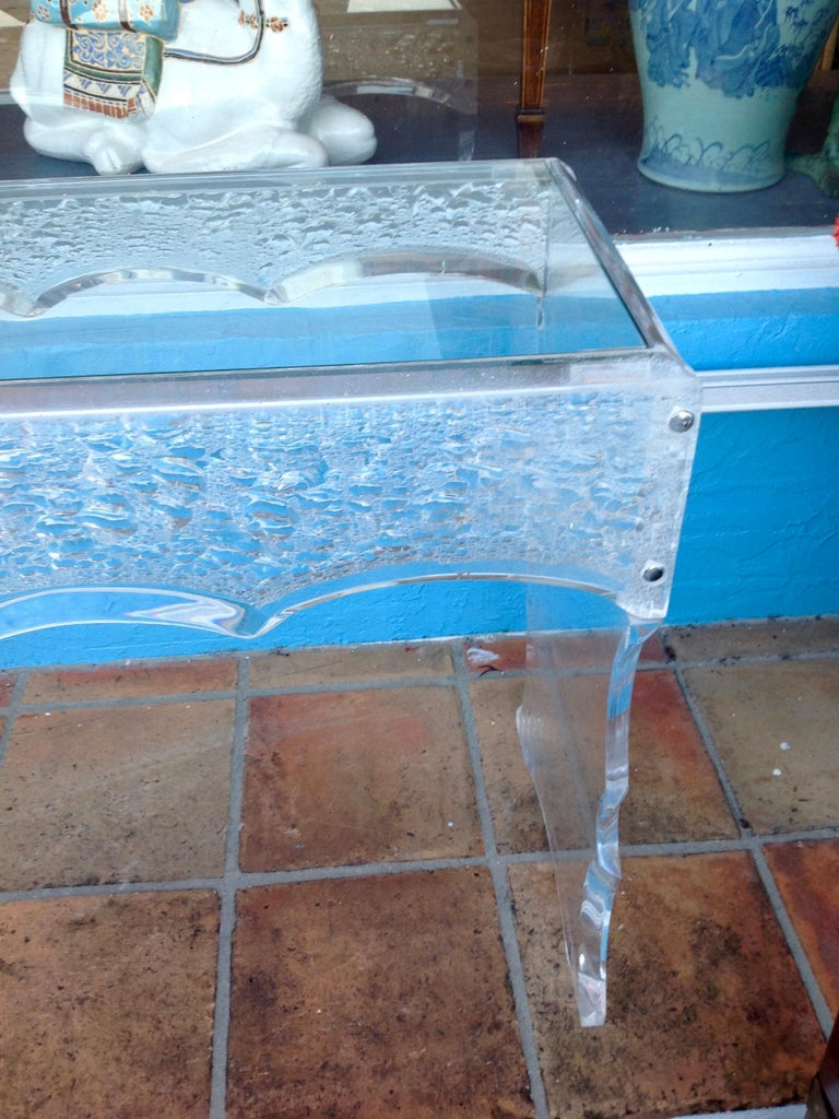 20th Century Sensational Lucite Sofa Table For Sale