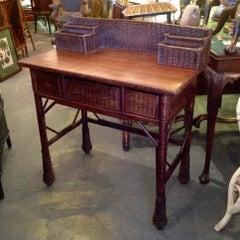 Vintage Natural Wicker Desk