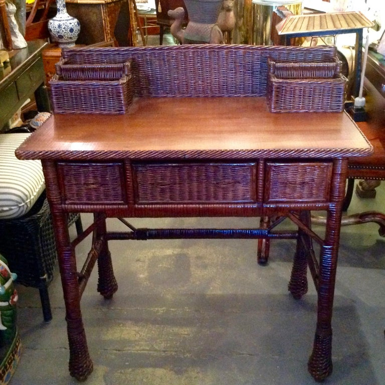 20th Century Vintage Natural Wicker Desk For Sale