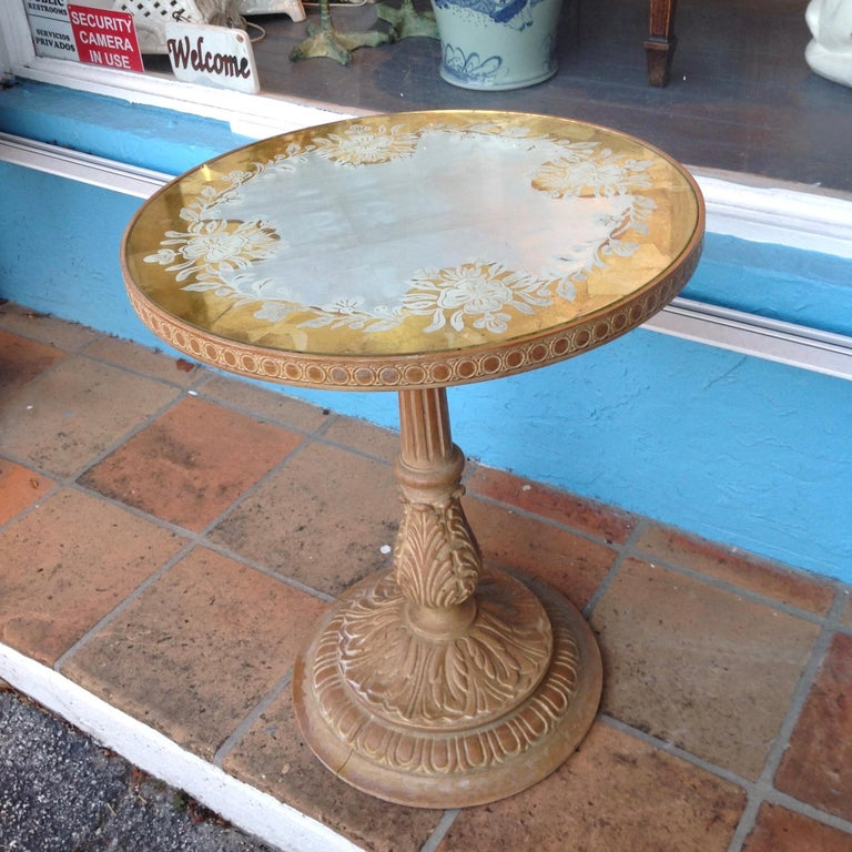 Art Deco Chic 1940s Reverse Painted Table For Sale