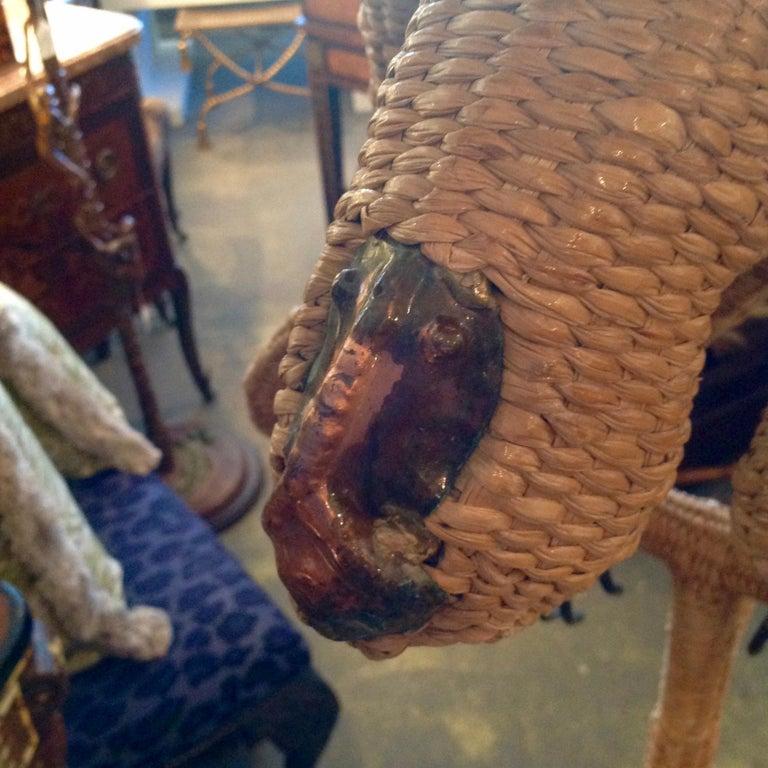 Metal Mario Lopez Torres Wicker Monkey Floor Lamp For Sale