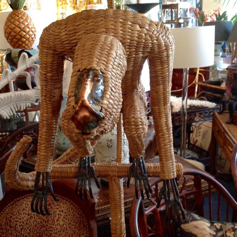 Mario Lopez Torres Wicker Monkey Floor Lamp For Sale 4