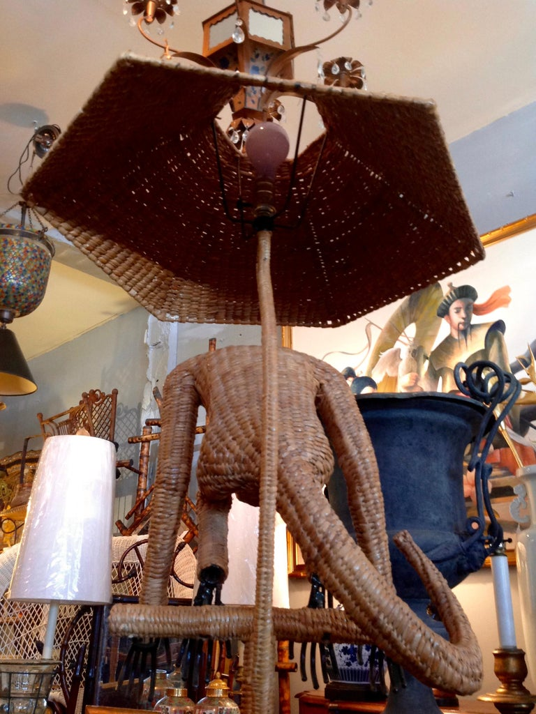 Mario Lopez Torres Wicker Monkey Floor Lamp For Sale 5
