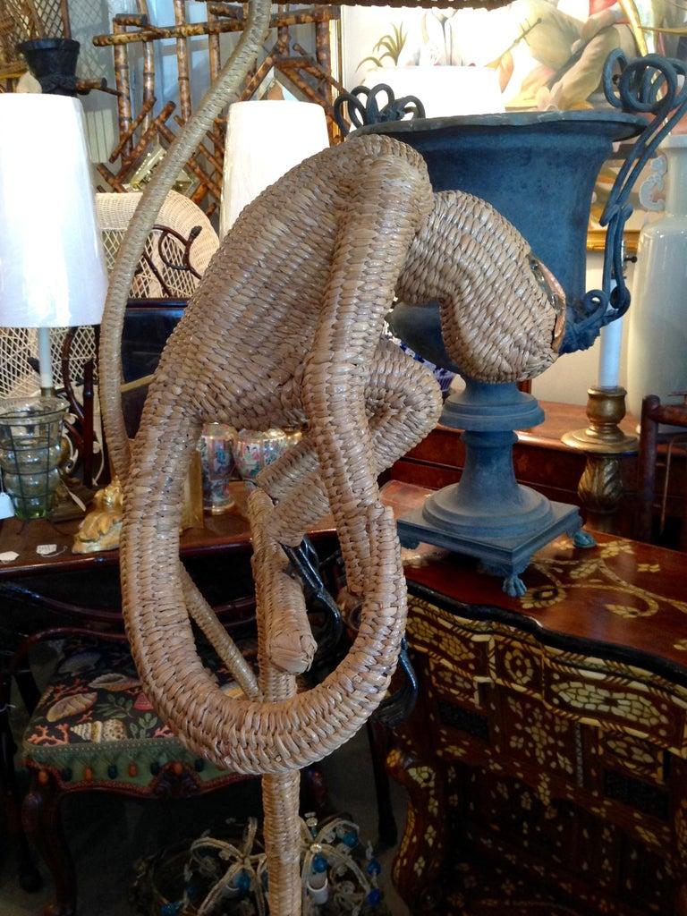 Mario Lopez Torres Wicker Monkey Floor Lamp For Sale 7