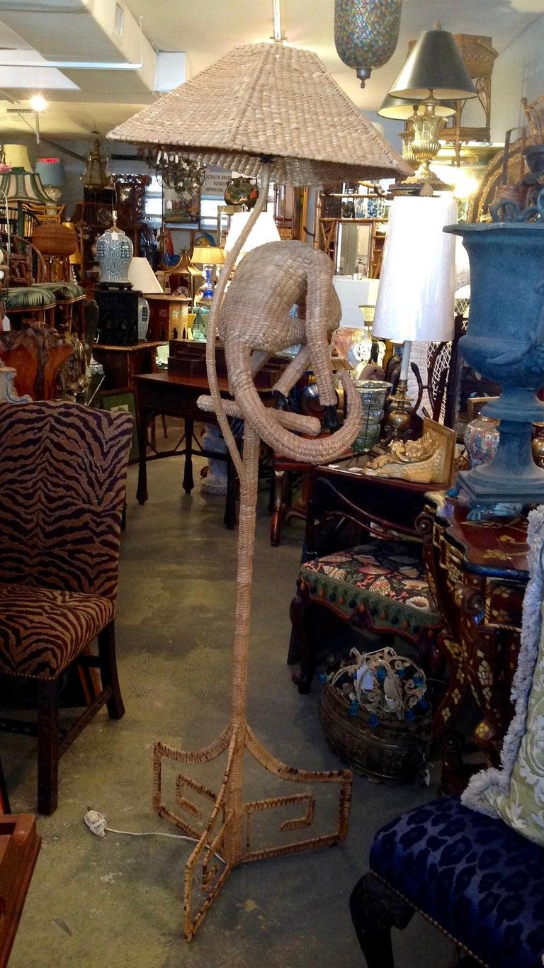 Mario Lopez Torres Wicker Monkey Floor Lamp In Good Condition For Sale In West Palm Beach, FL