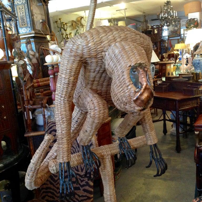 Mario Lopez Torres Wicker Monkey Floor Lamp For Sale 11