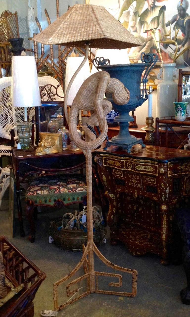 Late 20th Century Mario Lopez Torres Wicker Monkey Floor Lamp For Sale