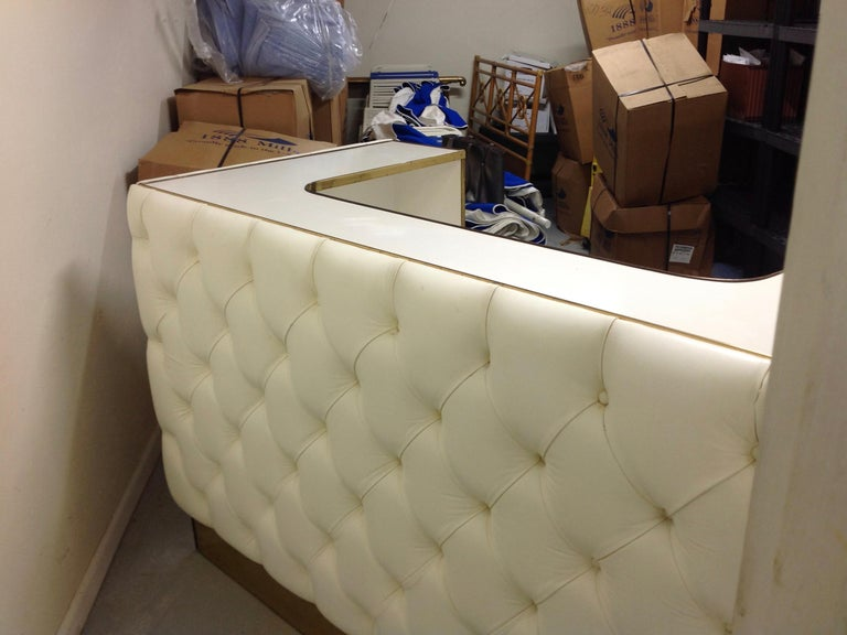 Custom Leather Upholstered Midcentury Bar For Sale 8