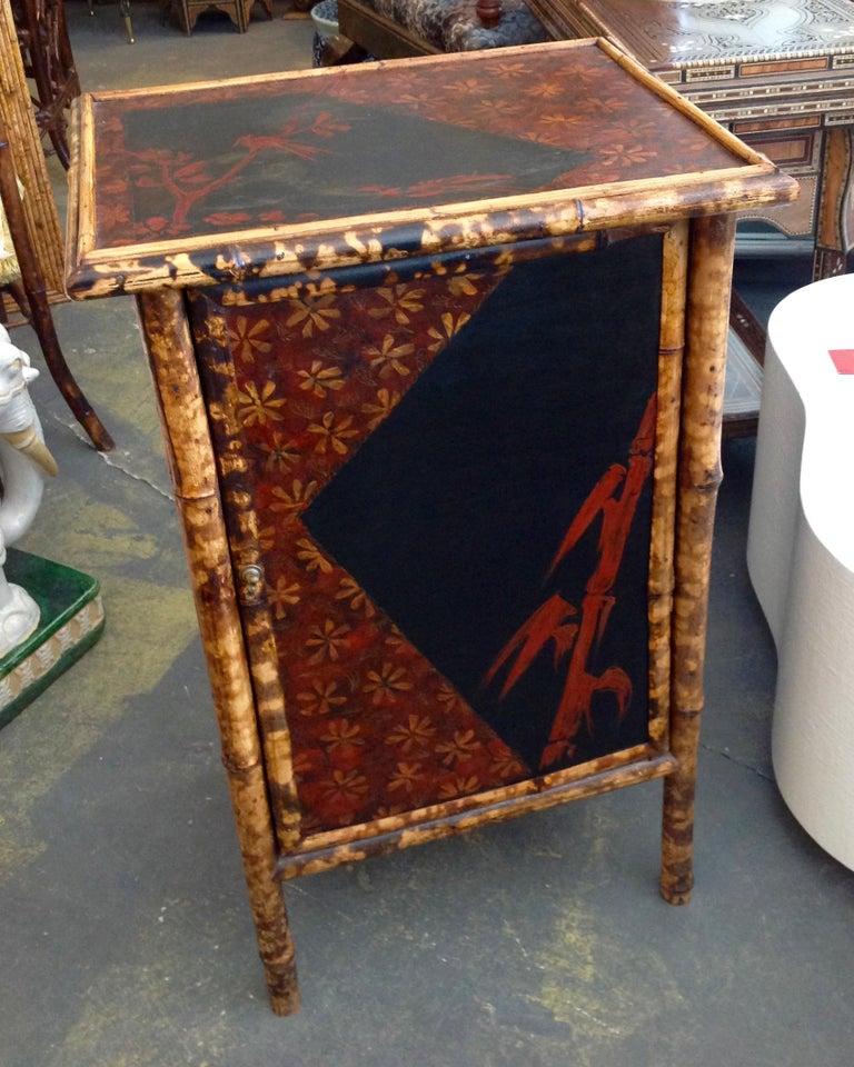 English Edwardian Bamboo Side Cabinet For Sale